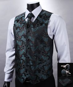 We love it and we know you also love it as well VE11 Green Black Paisley Top Design Wedding Men 100%Silk Waistcoat Vest Pocket Square Cufflinks Cravat Set for Suit Tuxedo just only $29.97 with free shipping worldwide  #jacketscoatsformen Plese click on picture to see our special price for you