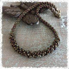 Kumihimo Necklace Long Magatama Braided Bead by SharashPanache