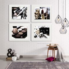Chanel Gold Makeup Bathroom Decor Set Of 4 Photography, Bathroom Art, Chanel  Bathroom Set