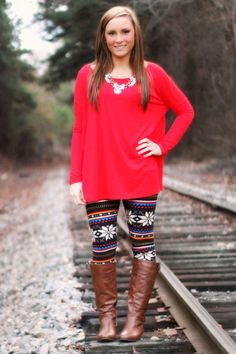 Red Piko with holiday print leggings