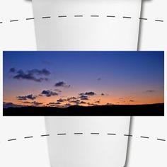 Sonnenuntergang - Keramik-Thermobecher mit Silikondeckel