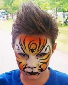 Fancy tiger Tribal lines #facepaintingbooth
