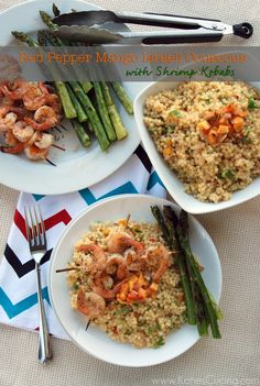 Red Pepper Mango Israeli Couscous with Shrimp Kebabs + @Holly Worthen ...