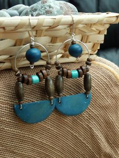 Blue and brown coco and wood african earrings by emeraldmystery, $10.00