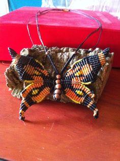 Macrame monarch butterfly necklace