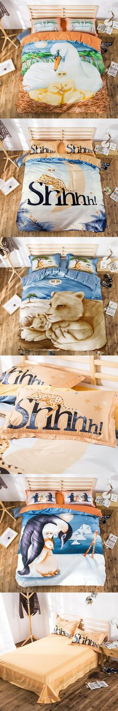 Wongsbedding HUHU Animal Cartoon Bedding Set Queen King Size Shhhh Cotton Duvet Cover Bedclothes 4PCS Beddings