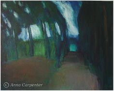 "Anna Carpenter - ""Droga samochodem przez las"", olej na płótnie"