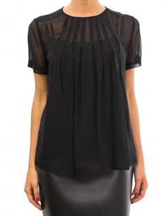 Marc by Marc Jacobs black short sleeve blouse with pleated front. 100% silk