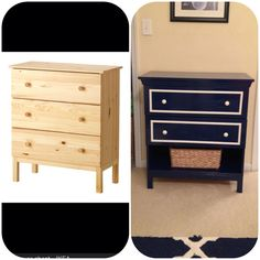 Small dresser #ikeahackers in admiral blue #beforeandafter #diy