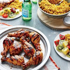 Teriyaki Chicken Drumsticks with Tropical Fruit Salad - Quick and Easy Chicken and Turkey Recipes for Dinner Tonight - Cooking Light