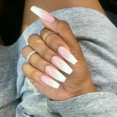 Ombré nails more pink white nails, white ombre, pink nail art, pink nails. Nails Yellow, Pink Nail Art, Sexy Nails, Love Nails, Trendy Nails, Manicure E Pedicure, White Manicure, Glitter Manicure, Manicure Ideas