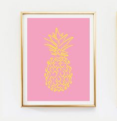 Neon Pineapple Poster Pineapple Print Home Decor by LovelyPosters