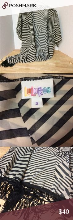 LuLaRoe Striped Kimono with Tassels NWOT Chevron stripes, size small, black tassels, excellent condition LuLaRoe Other
