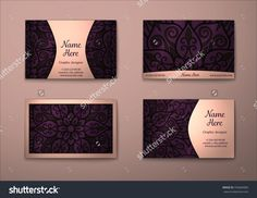 Vector Vintage Visiting Card Set. Floral Mandala Pattern And Ornaments. Oriental Design Layout. Islam, Arabic, Indian, Ottoman Motifs. Front Page And Back Page. - 376664983 : Shutterstock