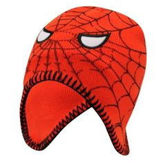 DC-COMICS-SPIDERMAN-KNITTED-HAT-WITH-EAR-FLAPS-4-YRS-APPROX-NEW-WITH-TAGS
