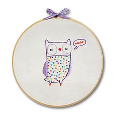 KIT embroidery owl wall art by penguinandfish on Etsy