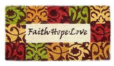 "MILLIARD Printed Coco Coir 18""x30"" Doormat, Faith Hope Love Design"