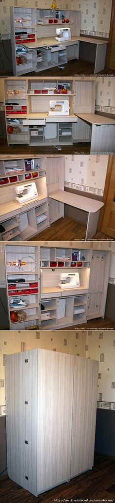 Sewing table diy storage 57 new Ideas Sewing Room Storage, Sewing Room Organization, Craft Room Storage, Sewing Rooms, Diy Storage, Organizing Ideas, Storage Spaces, Storage Ideas, Diy Sewing Table