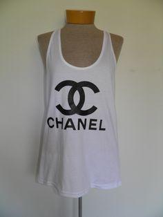 Chanel CC logo American Apparel Racer back Tank top White. $20.00, via Etsy. PLEASE PLEASE PLEASE