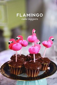 Flamingo Cake Toppers for Under A Buck. Made from drinking straws from @Dollar Tree.