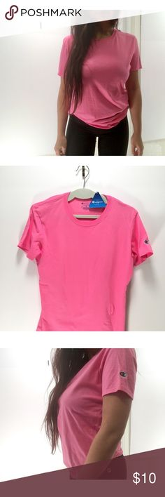 Champion Pink T-Shirt with Logo 💖⚡️NEW Classic Crew Neck Champion T-Shirt with C Logo on the side. In Pretty Pink 💖⚡️Brand NEW   New Item just posted 2/2/18✨ 👉No Trades Champion Tops Tees - Short Sleeve