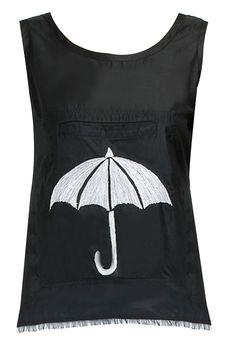 Black umbrella tank top. BY ROUKA. Shop now at: www.perniaspopups... #perniaspopupshop #designer #stunning #fashion #style #beautiful #happyshopping #love #updates