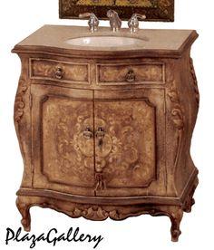 """31""""W Fresco Brown Hand Painted Marble Top Bathroom Vanity"""