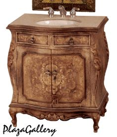 "31""W Fresco Brown Hand Painted Marble Top Bathroom Vanity"