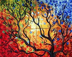 Ähnliche Artikel wie ORIGINAL Art Painting Whimsical SEASONS Trees Large Multi Panel Oil Art on 48x36 Canvas Art by Luiza Vizoli auf Etsy