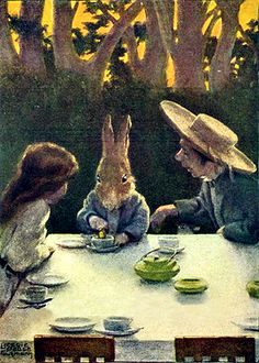 """Alice's Adventures In Wonderland, illustrated by Bessie Pease Gutmann, 1907 - - """"Then he dipped into his cup of tea."""""""