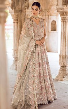 Pakistani Bridal Gown Dress for Wedding in Lilac Color in Traditional style decorr with pretty work. Buy Pakistani Bridal Gown Dress Online in USA. Asian Bridal Dresses, Indian Bridal Outfits, Pakistani Bridal Wear, Bridal Lehenga Choli, Pakistani Wedding Dresses, Pakistani Outfits, Bridal Gowns, Bridal Sari, Wedding Lenghas