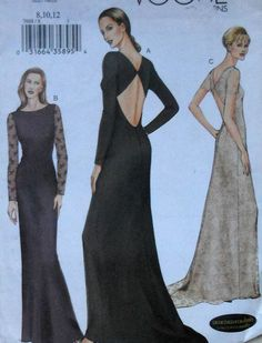Vogue Open Back Gown Sewing Pattern