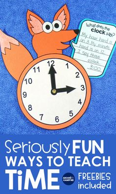 """This """"What does the clock say?"""" telling time writing craft has first, second and third graders writing about math while it doubles as a practice clock. Find hands-on ideas and telling time activities for kids in this post ideal for teaching 1st, 2nd, and 3rd grade students to tell time to the hour/half hour, quarter hour, and to the minute. Be sure to download the free telling time game too!"""