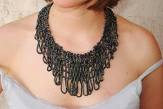 Charcoal Net Necklace sewn with Dull Red Silk by JoyasTextiles, €40.00