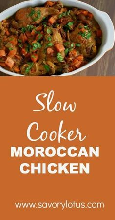 Slow-Cooker-Moroccan-Chicken-paleo-savorylotus.com_ Crock Pot Slow Cooker, Crock Pot Cooking, Slow Cooker Recipes, Paleo Recipes, Whole Food Recipes, Cooking Recipes, Paleo Food, Yummy Recipes, Slow Cooker Moroccan Chicken
