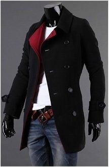 Men's Double Breasted Slim Fitting Wool Coat with Red Collar... Love everything…