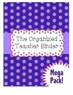 Get yourself organized this school year with the Polkadot and Lace Teacher Binder Mega Pack. This pack includes over 80 pages of teacher organization tools. There are cover pages for binders or to use as dividers in binders, and lots of organizational she Teacher Binder, Teacher Organization, Teacher Hacks, Organization Ideas, All About Me Activities, Diy Classroom Decorations, Phonics Activities, Writing Activities, Teaching Sight Words