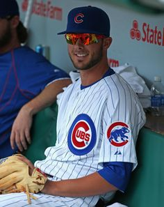 Kris Bryant sits in the dugout at Wrigley Field before his major league debut - April 17, 2015