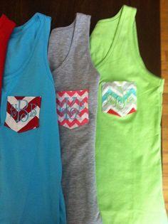 Monogram Pocket Tank Tops by DP914DESIGNS on Etsy, $15.50 #T Shirt Cute #T Shirt Girls| http://tshirtgirls.lemoncoin.org