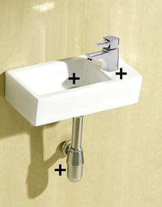 Minimo Super Tiny Mini Small Compact Square Rectangle Cloakroom Basin Bathroom Sink Wall Hung 375 X 185 Right Hand + York Mini Mixer Tap + Un Slotted Click Clack Waste & Chrome Plated Brass Bottle Trap, Extension Tube(MINIMO-RH+Y07+BT01): Amazon.co.uk: Kitchen & Home