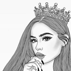 Hey Ladies welcome to our gram  We are a group of women on a mission to fix more girls crowns - You can call us your personal #crownfixers - We are queens devoted to helping girls polish their crown and claim their throne.. like the REAL QUEEN THEY ARE  - Welcome to our page baby girl  Let us help you fix your crown  - Your crown starts with your mental; your thoughts about yourself and life. YOUR MIND IS YOUR MOST PRECIOUS CROWN  -  Then you have your physical crown; your gorgeous hair… Tumblr Sketches, Art Sketches, Art Drawings, Tumblr Outline Drawings, Eyes Closed, Inspiration Drawing, Girls Crown, Hipster Girls, Pics Art