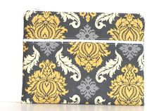 Zippered iPad iPad 2 Case Gray and Yellow Damask by LunabelleCo, $35.00