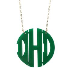 Acrylic Block Monogram Necklace, $58.00  Available in 24 colors!