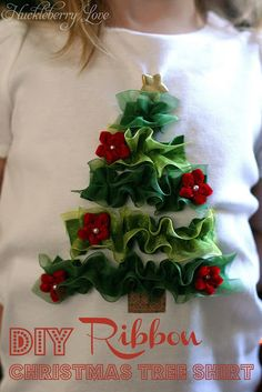 Ribbon Christmas Tree Shirt {Tutorial}- This shirt would be perfect for any little girl this holiday season! use ribbon to make a beautiful Christmas tree! Diy Ugly Christmas Sweater, Christmas Sewing, Christmas Shirts, Christmas Projects, Holiday Crafts, Ugly Sweater, Xmas Pjs, Christmas Dresses, Christmas Clothes