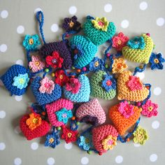 crocheted hearts & flowers