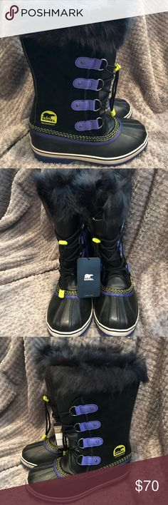 Sorel Waterproof Winter Boots Brand New Never Worn Sorel Boots in Black Purple & yellow accents ! Super comfortable and warm ! Sells New for $100 Size 5 Sorel Shoes Winter & Rain Boots