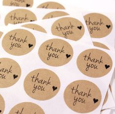 63 modern Free Spirit Script font THANK YOU & mini HEART 1 inch round Kraft Circle Stickers for party favors, gifts, weddings-Free Shipping