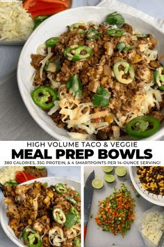 Having trouble staying full? These meal prep bowls will put an end to that. Each bowl weighs nearly 1 pound, has 35 grams of protein, 380 calories, and just 4 SmartPoints. Veggie Meal Prep, Taco Meal, Meal Prep Bowls, Healthy Meal Prep, Healthy Eating, Food Prep, Advocare Meal Prep, High Protein Meal Prep, Low Calorie Recipes
