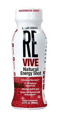 RE VIVE Natural Energy Shot, Watermelon Berry, 3.0 ounce, 12 Count  21 All-Natural Superfruits, CoQ10, Ginseng, Green Tea Leaf Extract  No Added Sugar  non-GMO  Flavor: Watermelon Berry  Vegan, Kosher, and Gluten Free