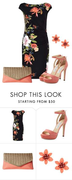 """""""Coral And Tropical"""" by sjlew ❤ liked on Polyvore featuring Jimmy Choo, Jessica McClintock and Kate Spade"""